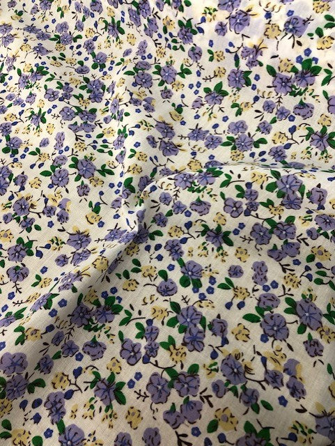 "1 Metre  Lilac Polycotton Buttercup & Forget Me Not Fabric x 112cm / 44"" - Ep581"
