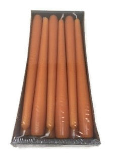 250mm x 23mm Pumpkin  Orange Tapered Candles x 12