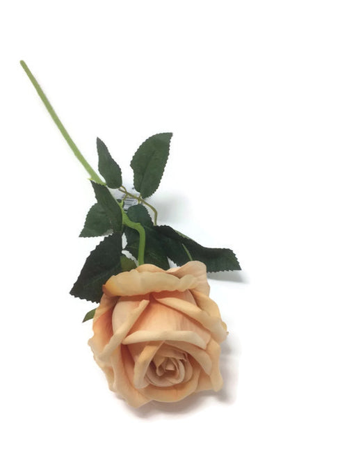 Single Stem Velvet Touch Rose - Dark Peach