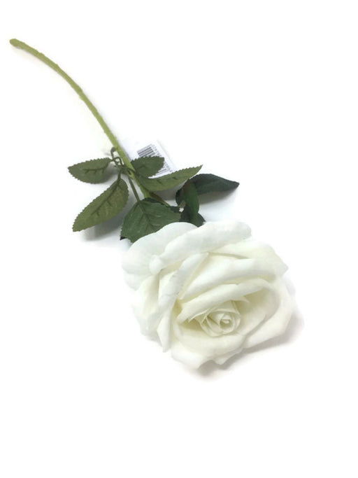 Single Stem Velvet Touch Rose - Ivory