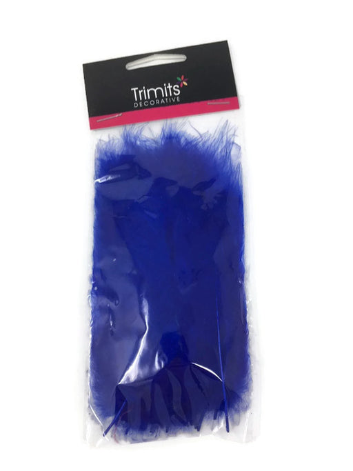 24 Mixed Size Marabou Feathers - Royal Blue