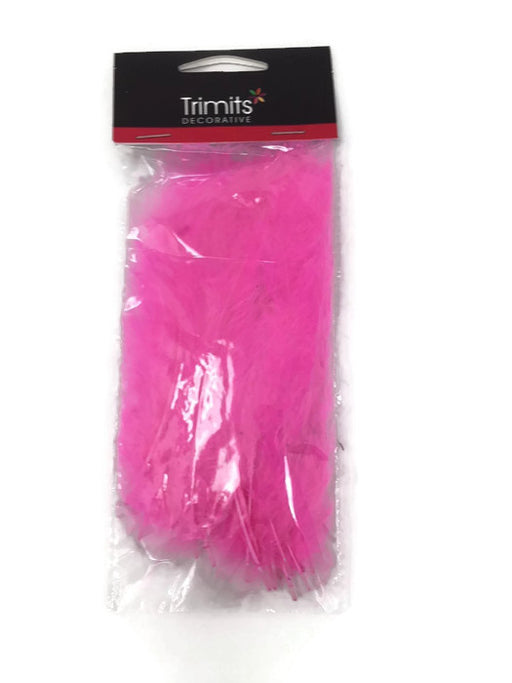 24 Mixed Size Marabou Feathers - Cerise