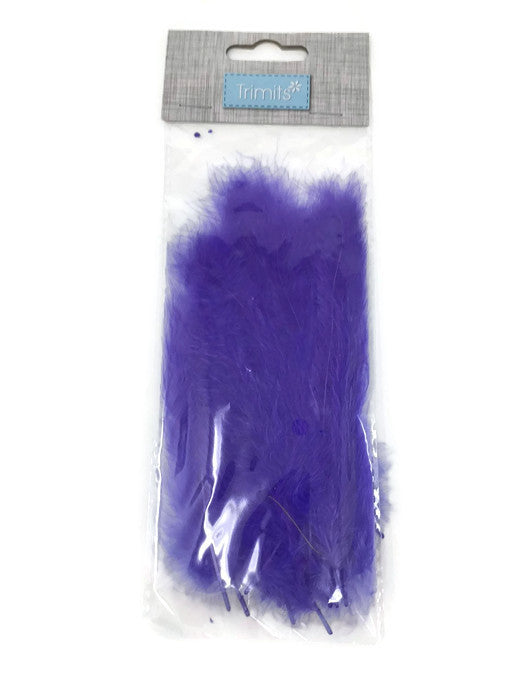 24 Mixed Size Marabou Feathers - Purple