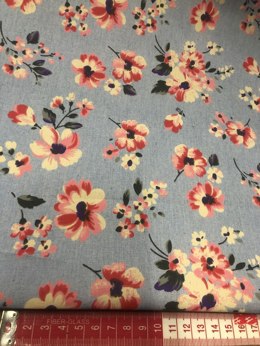 Light Denim 100% Cotton Fabric 147cm Width with Flowers T171