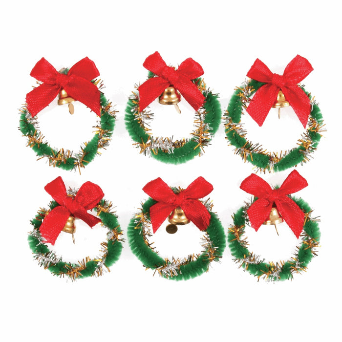 Self Adhesive Craft Embellishment - Tinsel Wreath & Bell - Pack of 6