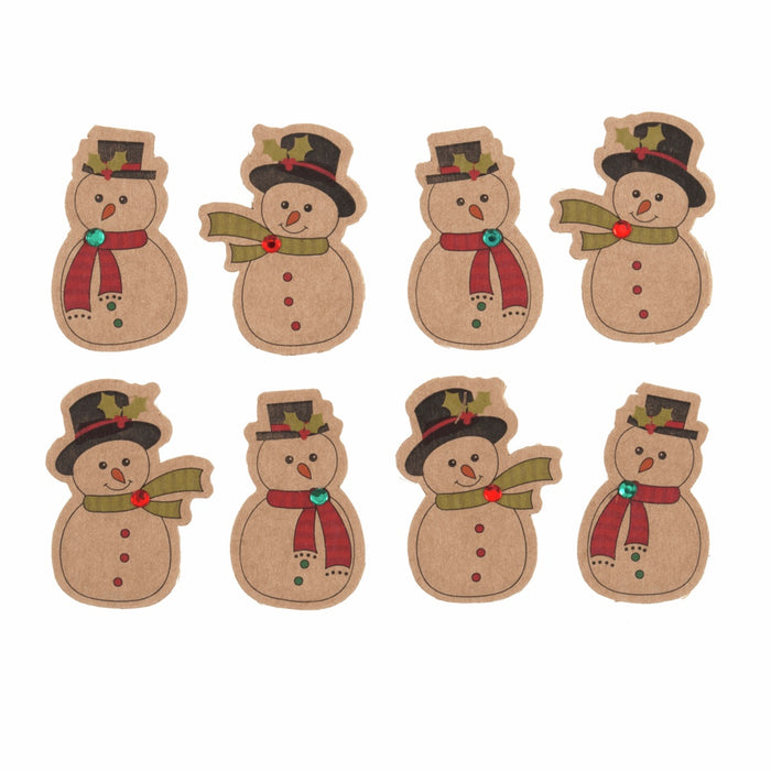 Vintage Christmas Self Adhesive Embellishment x 4cm - Pack of 8 - Mini Snowman