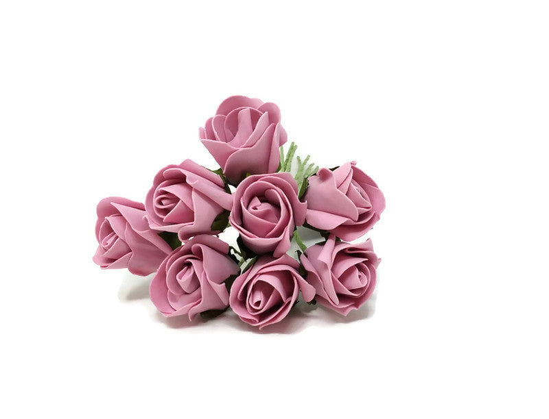 8 Head Foam Rose Bud Bunch - Vintage Pink
