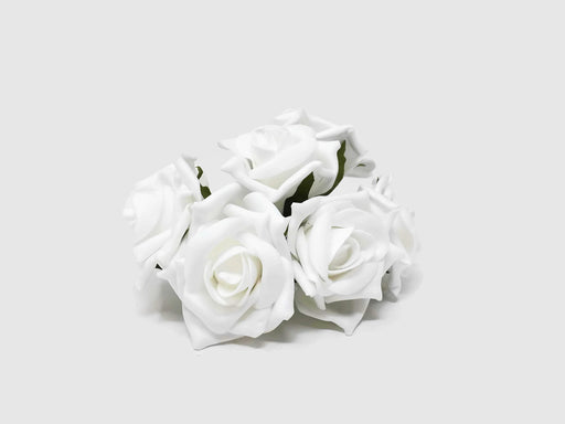 6 Head Foam Rose Bunch - White