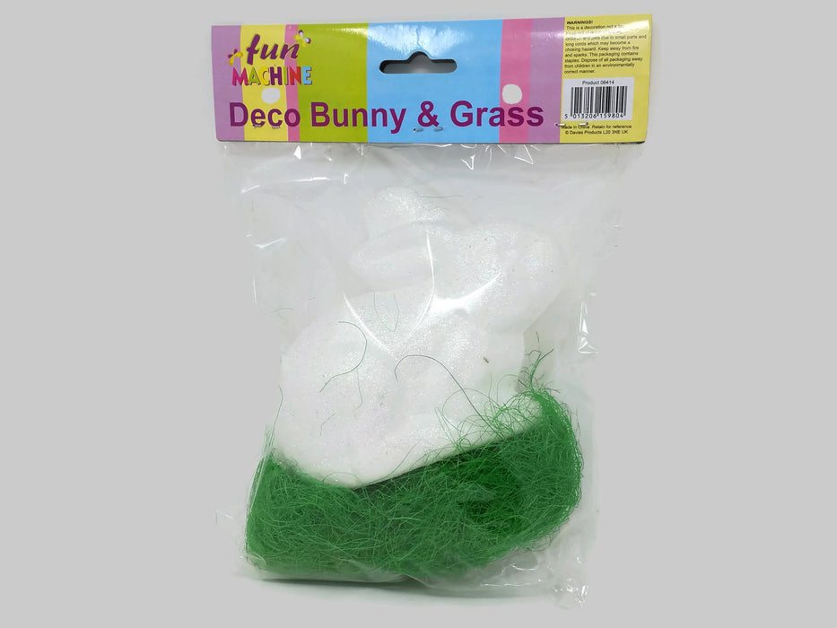 Large Deco Foam Glitter Easter Bunny & Grass