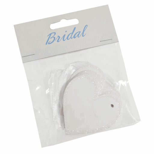 Heart Tags with Glitter Edging & Ribbon Ties - Pack of 10 - White