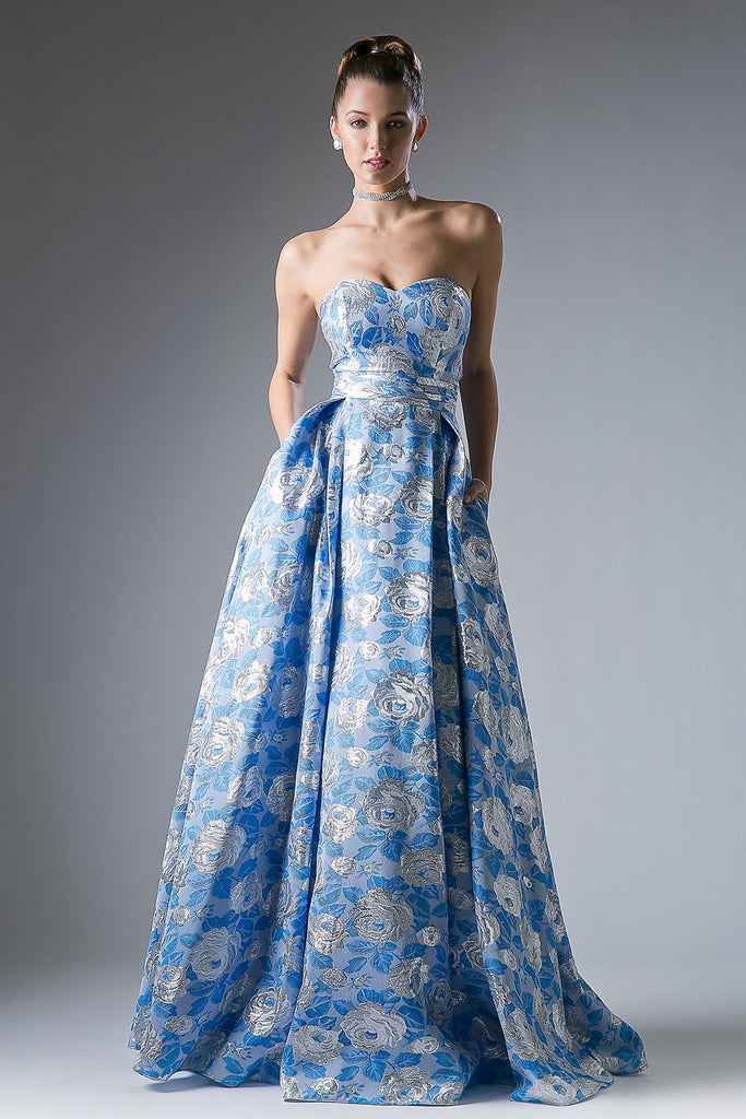 FLORAL BLUE FULL BALL GOWN – Darling & Glam Co