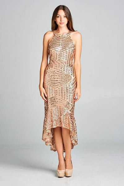 GOLD CHIFFON SEQUIN DRESS, PARTY DRESS, AG Studio, darling-glam-co