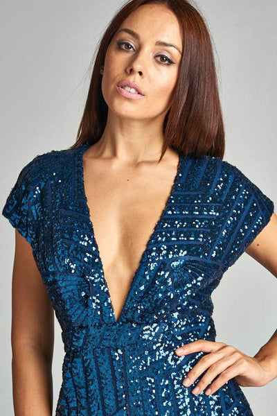 SEQUIN NAVY PLAYSUIT, PARTY DRESS, AG Studio, darling-glam-co