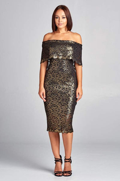 SHORT GOLD BLACK COCKTAIL DRESS, Cocktail, AG Studio, darling-glam-co