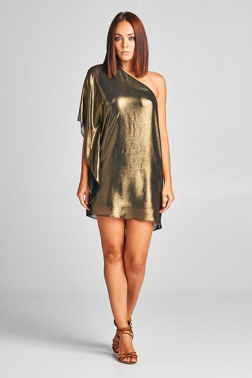 GOLD METALLIC FLOW SHORT DRESS, PARTY DRESS, AG Studio, darling-glam-co