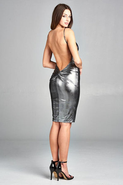 SILVER METALLIC HUGGING SHORT DRESS, PARTY DRESS, AG Studio, darling-glam-co