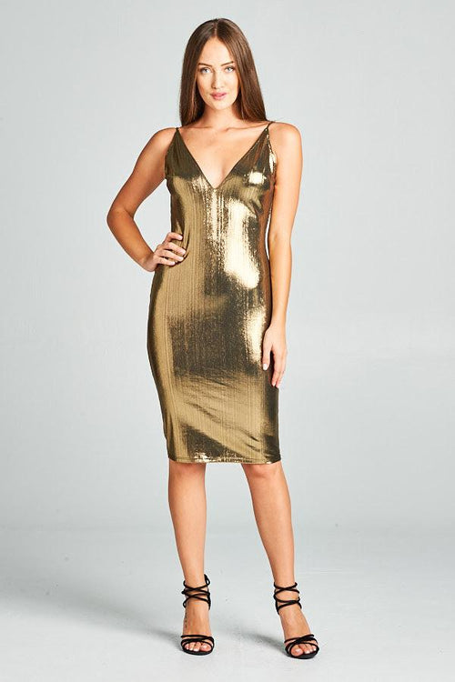 GOLD METALLIC HUGGING SHORT DRESS, PARTY DRESS, AG Studio, darling-glam-co