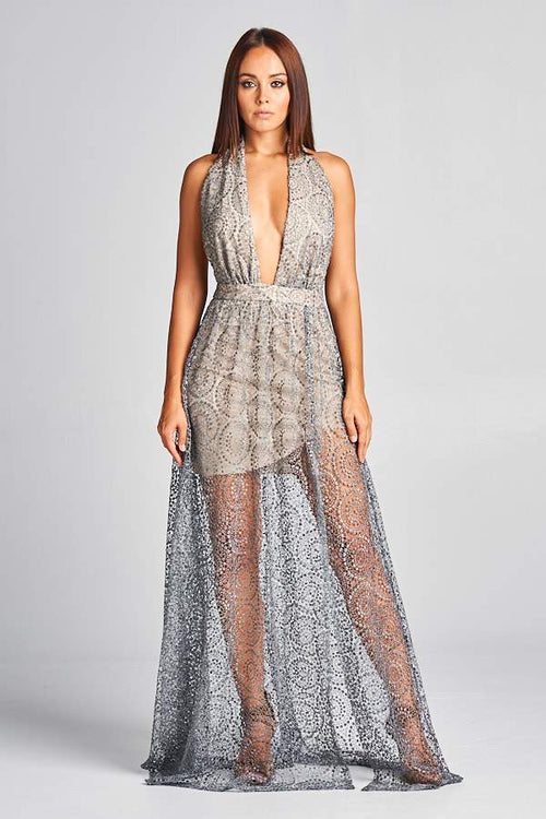 NUDE SILVER TIA COCKTAIL GOWN, Cocktail, AG Studio, darling-glam-co