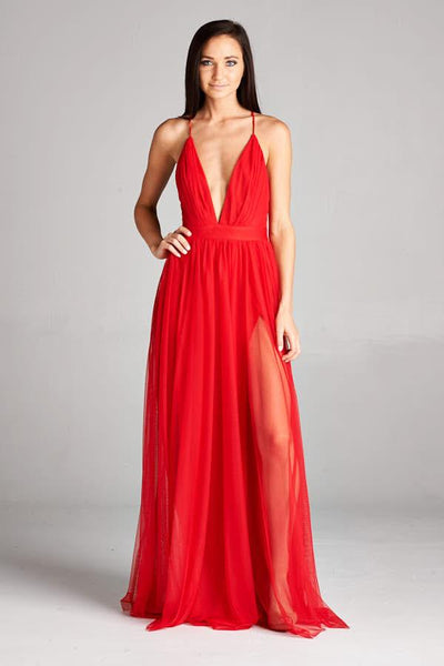ZARA X RED FLOWING DRESS, Evening, AG Studio, darling-glam-co