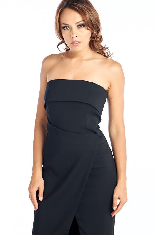 WRAPPED BLACK COCKTAIL DRESS, Cocktail, AG Studio, darling-glam-co