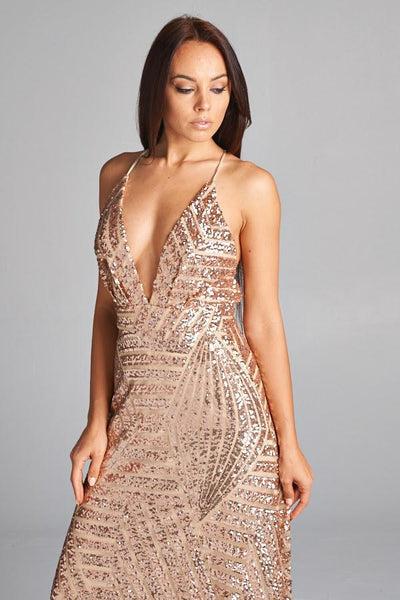 CINDY SEQUIN GOLD DRESS, PARTY DRESS, AG Studio, darling-glam-co