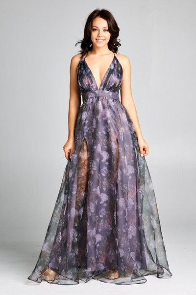PURPLE LONG EVENING DRESS, Evening, AG Studio, darling-glam-co