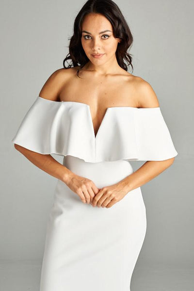 JULIET WHITE FIT AND FLARE DRESS, Evening, AG Studio, darling-glam-co