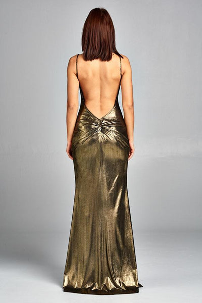 GOLD METALLIC HUGGING LONG DRESS, PARTY DRESS, AG Studio, darling-glam-co