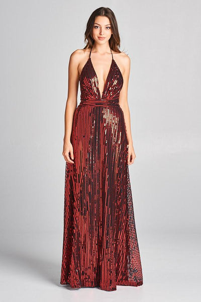 RED SEQUIN PLUNGING NECKLINE COCKTAIL DRESS, Cocktail, AG Studio, darling-glam-co