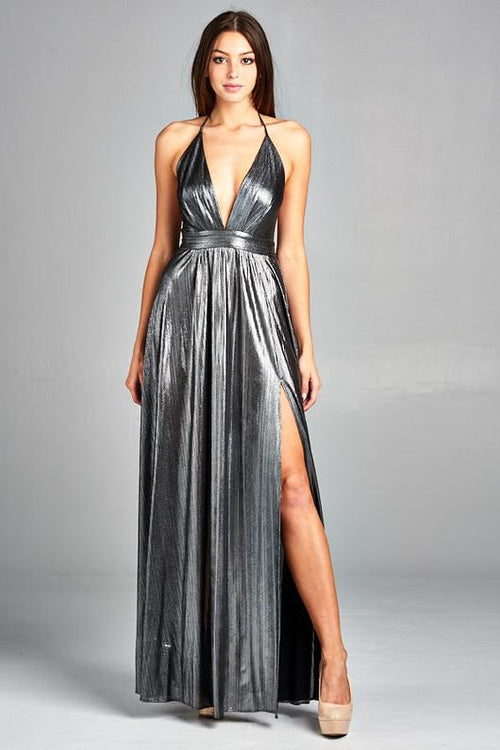 SILVER METALLIC GODDESS DRESS, Evening, AG Studio, darling-glam-co