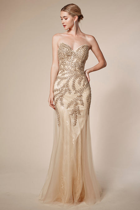 OFF THE SHOULDER METALLIC MODERN MERMAID GOWN