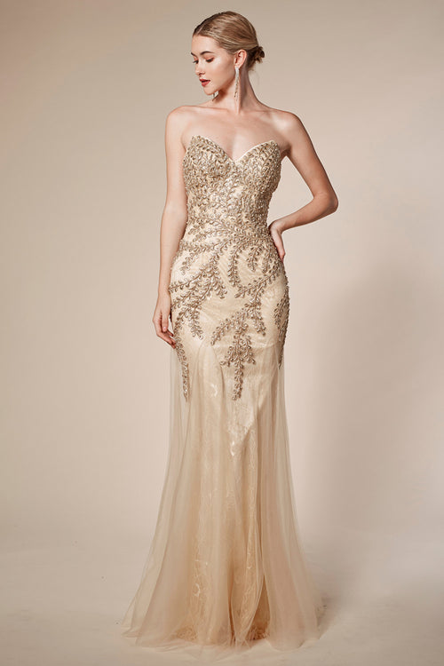 GOLDEN LEAVES MERMAID GOWN, Evening, Andrea & Leo, darling-glam-co