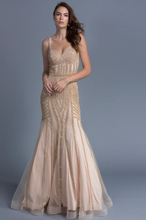 CHAMPAGNE SEQUIN EVENING GOWN, Evening, Adrianna Papell, darling-glam-co