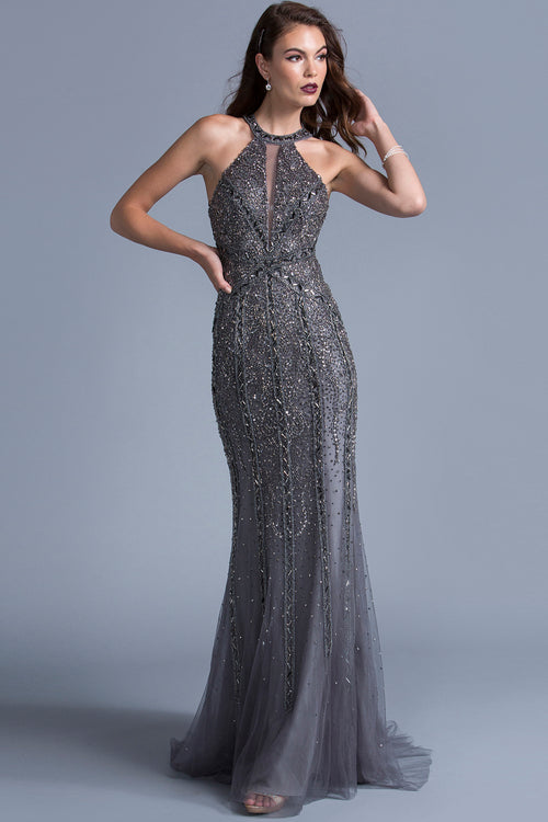 CHARCOAL HALTERNECK JEWELED GOWN, Evening, Adrianna Papell, darling-glam-co