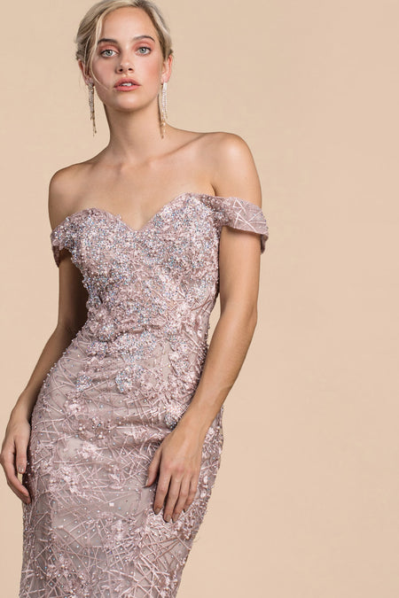 STUNNING BEADED PLUNGING V-NECKLINE WITH GLITTER BALLGOWN