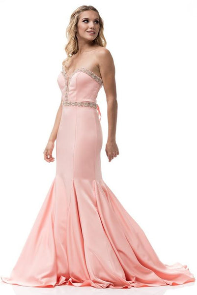 PEACH BEADED FITTED EVENING DRESS, Evening, AG Studio, darling-glam-co