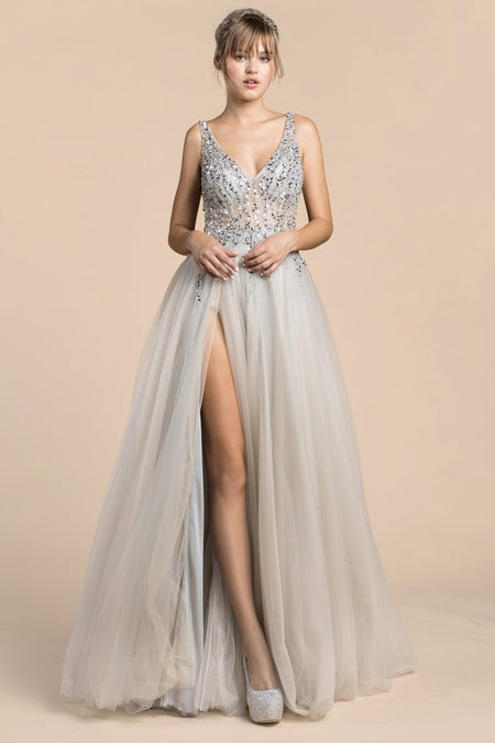 IRIDESCENT BEAD DETAIL GOWN