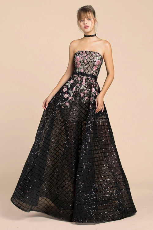 MIA BLACK FLORAL BALLGOWN, Ball Gowns, Andrea & Leo, darling-glam-co