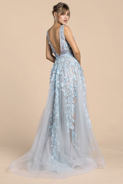 IRIDESCENT BEAD DETAIL GOWN, Ball Gowns, Andrea & Leo, darling-glam-co
