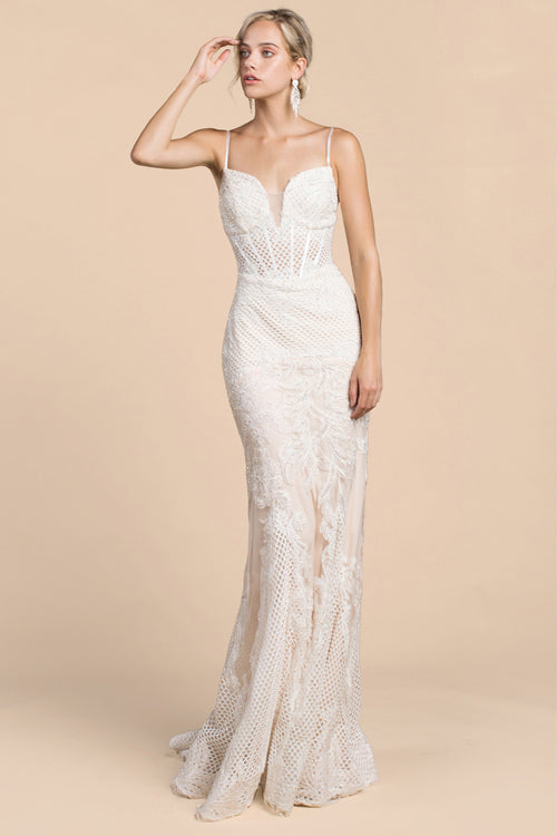 MESH BUSTIER BODICON GOWN, Evening, Andrea & Leo, darling-glam-co