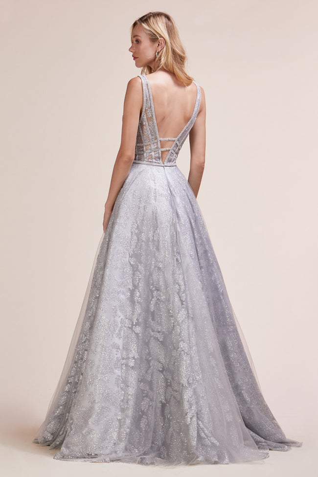 STUNNING BEADED PLUNGING V-NECKLINE WITH GLITTER BALLGOWN, Evening, Andrea & Leo, darling-glam-co