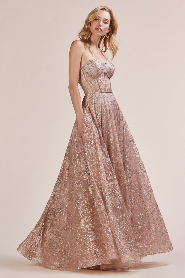 STUNNING CORSET INSPIRED STRAPLESS GLITTER A-LINE GOWN, Ball Gowns, Andrea & Leo, darling-glam-co