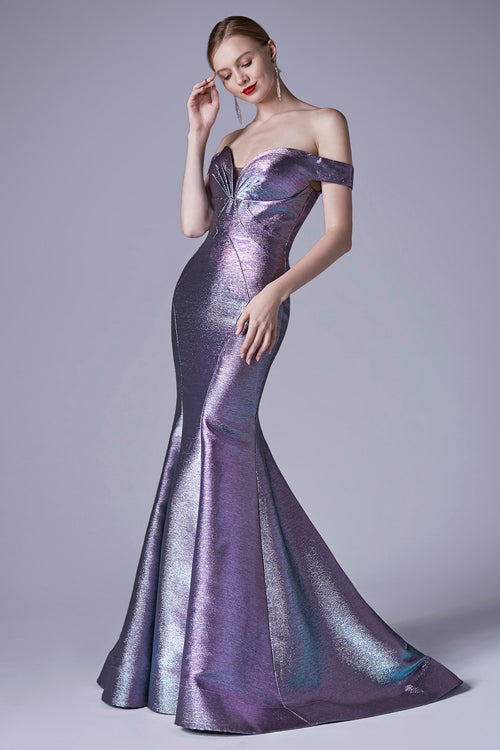 OFF THE SHOULDER METALLIC MODERN MERMAID GOWN, Evening, Andrea & Leo, darling-glam-co