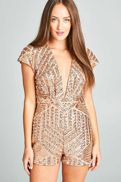 SEQUIN GOLD PLAYSUIT, PARTY DRESS, AG Studio, darling-glam-co