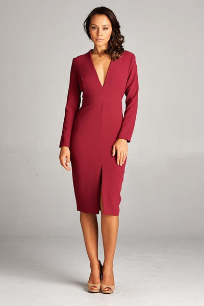 HEATHER BURGUNDY WORK DRESS, Work Wear, AG Studio, darling-glam-co