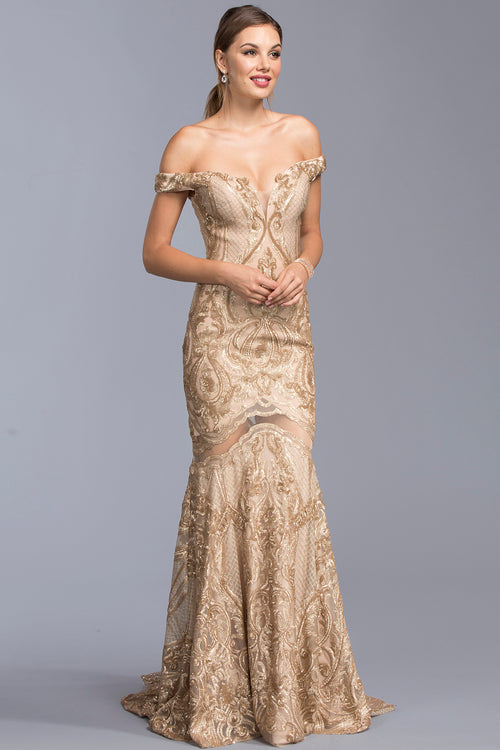 GOLD SWEETHEART ADRIANNA PAPELL GOWN, Evening, Adrianna Papell, darling-glam-co