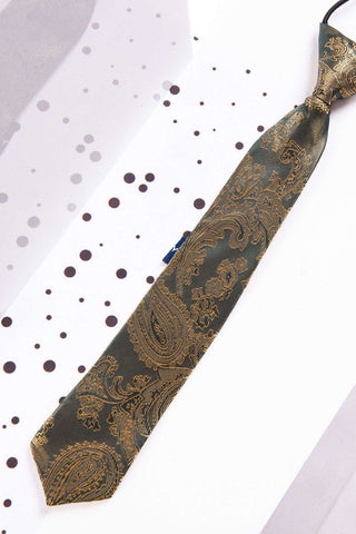 Children's Gold Paisley Print Tie