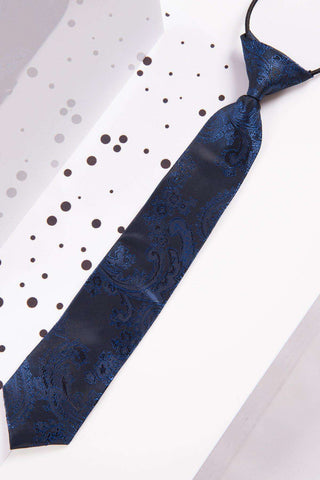 Childrens Navy Paisley Print Tie