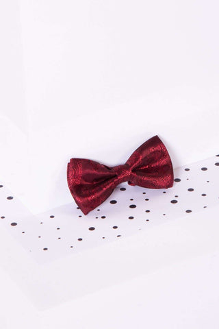Childrens Wine Paisley Print Bow Tie