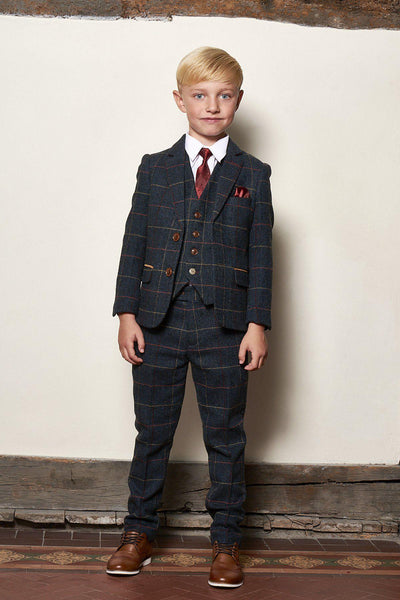 ETON - Children's Navy Blue Tweed Check Three Piece Suit